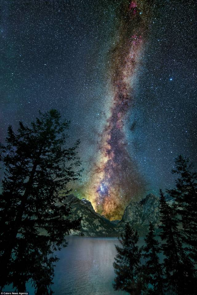 The iridescent beauty of the Milky Way is reflected in Jenney Lake in a spectacular photo taken at Yellowstone National Park