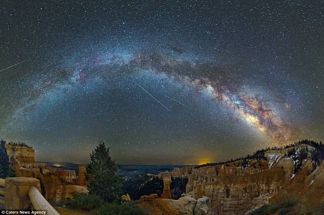 Agua Canyon in Bryce Canyon National Park, South West Utah, is similarly brought to life with splashes of colour from the Milky Way and even some shooting stars flashing across the sky