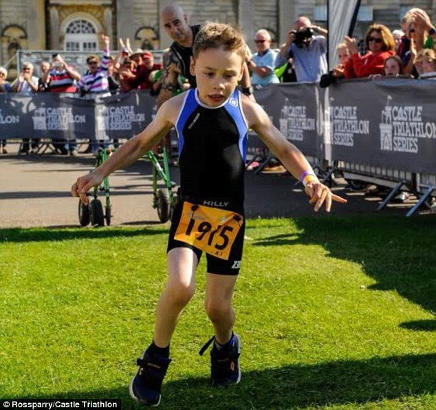 Hundreds of people gathered at the finish line to watch Bailey complete the  Castle Howard Triathlon
