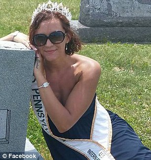 Weaver-Gates is pictured in her pageant crown and sash visiting relatives' grave site