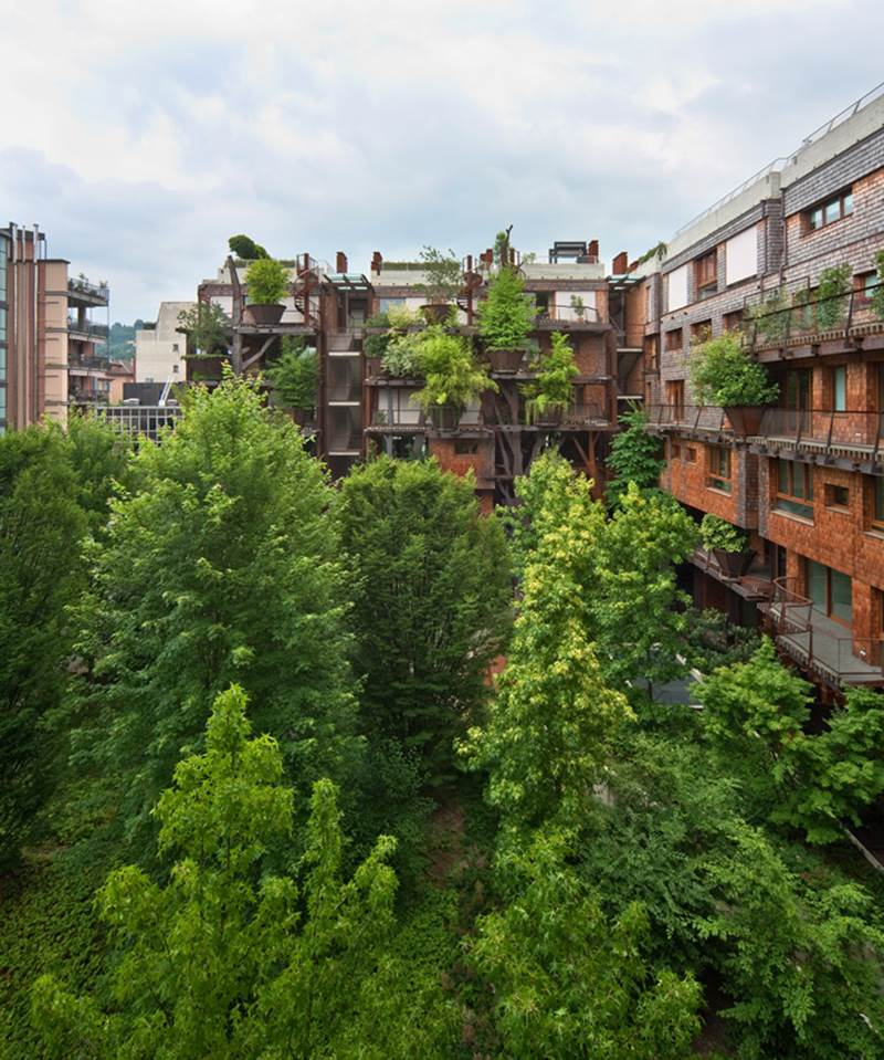 Apartment Building Covered with 150 Trees in Italy