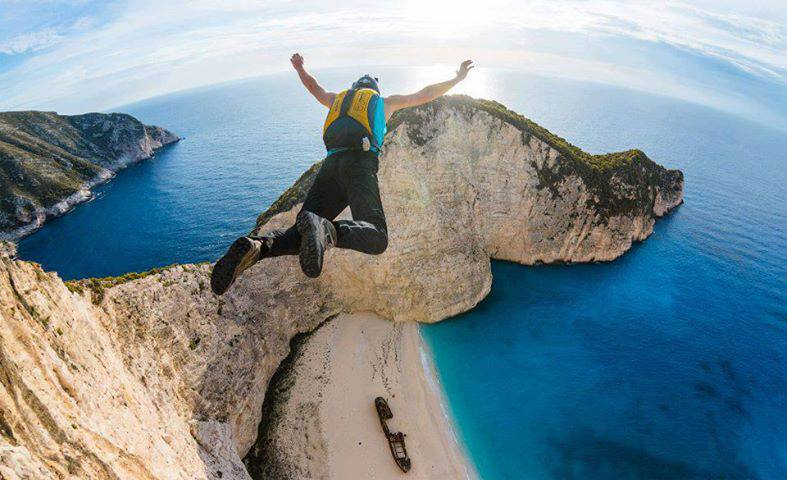 BASE Jumping at Navagio Beach