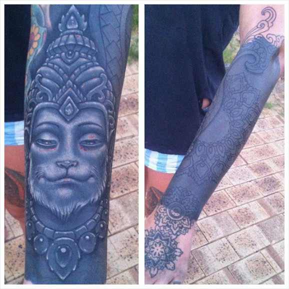 Cool monkey king sleeve in progress by Heath Todd.