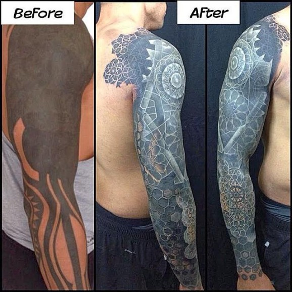 The Newest Trend Solid Black Tattoos With White Highlights Are