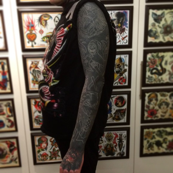 c6847d60f86e Nathan Mould is known for his work with geometric tattoos and white ink  over blackwork tattoos.