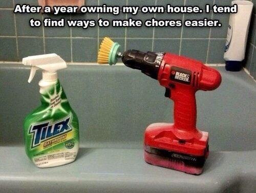 Deep clean your bathroom with a power drill.