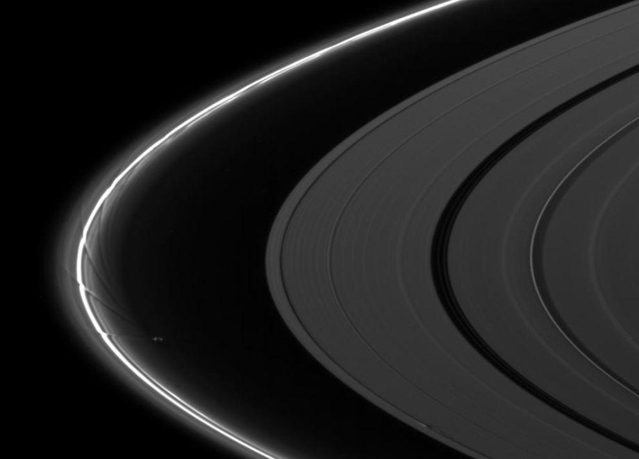Prometheus creates an intricate pattern of perturbation in Saturn's F ring.