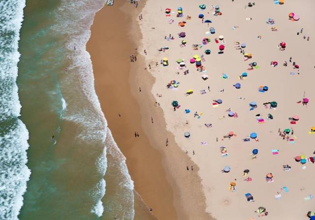 lisbon horizontal beach with waves aerial maison gray Beaches Around the World Seen from Above