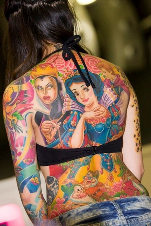 snowwhiteback disney tattoos