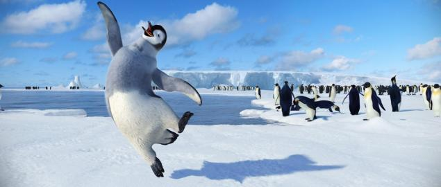 In frozen Antarctica, where penguins sing to woo a mate, Mumble's talent is dancing in the movie, 'Happy Feet.'
