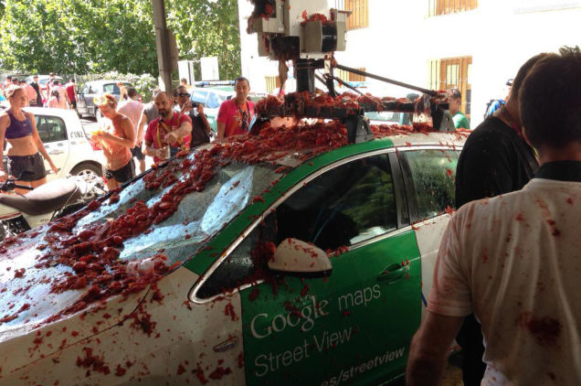 This Google Street View Car Drove Through a Tomato-Throwing Festival In Spain