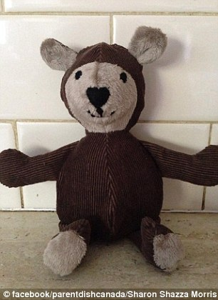 Cute: Sharon Shazza Morris uploaded this picture of a stuffed brown teddy bear (left), alongside the caption: 'My dad passed 7 years ago, I recently made this little bear from his jacket. Right, another memorial bear