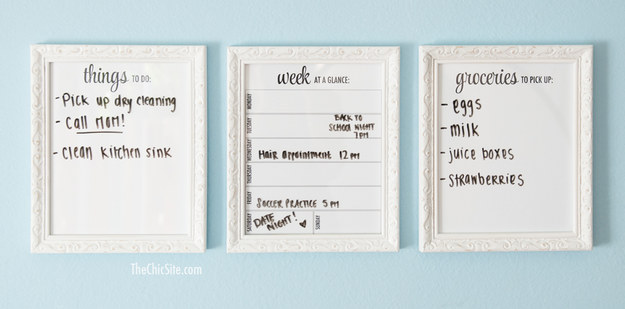 Use picture frames to make wipe boards that'll keep you organized *and* actually look good hanging on your wall.