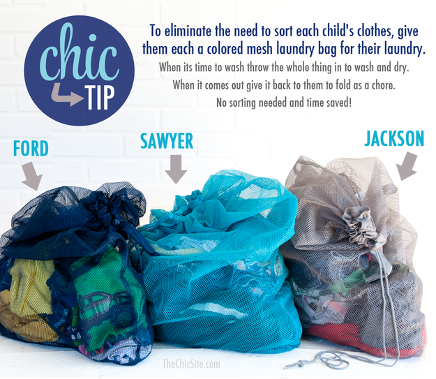 Keep laundry under control and use a separate bag for each member of the family.