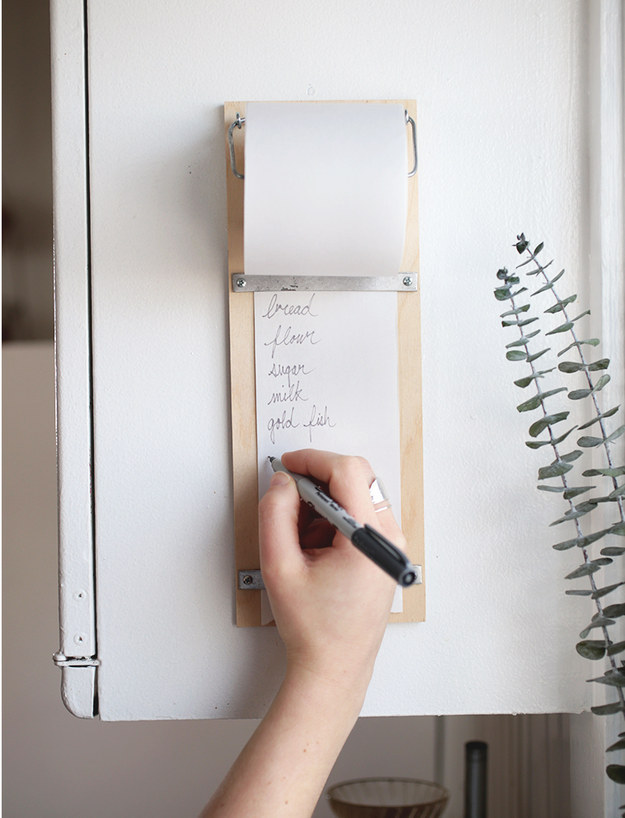 Make a list pad and hang it on an easily accessible spot in the kitchen.