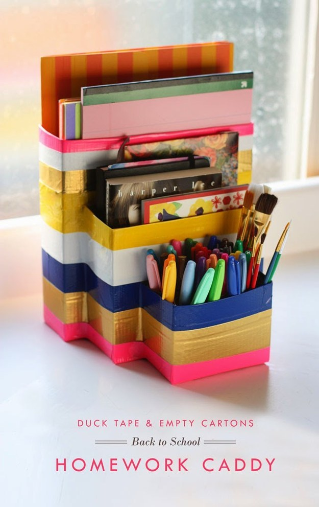 Don't have the space for a designated homework station? Make an easily transportable one instead.
