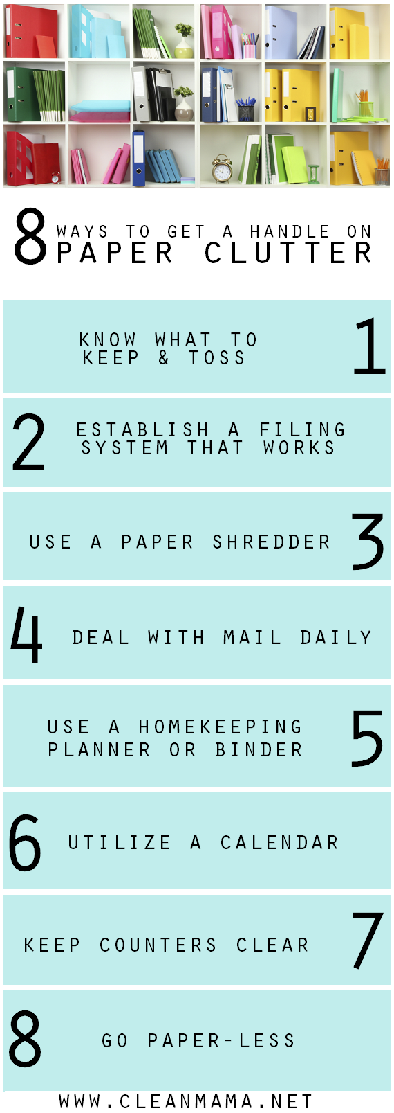 Eliminate even more paper clutter by following the suggestions on this chart.