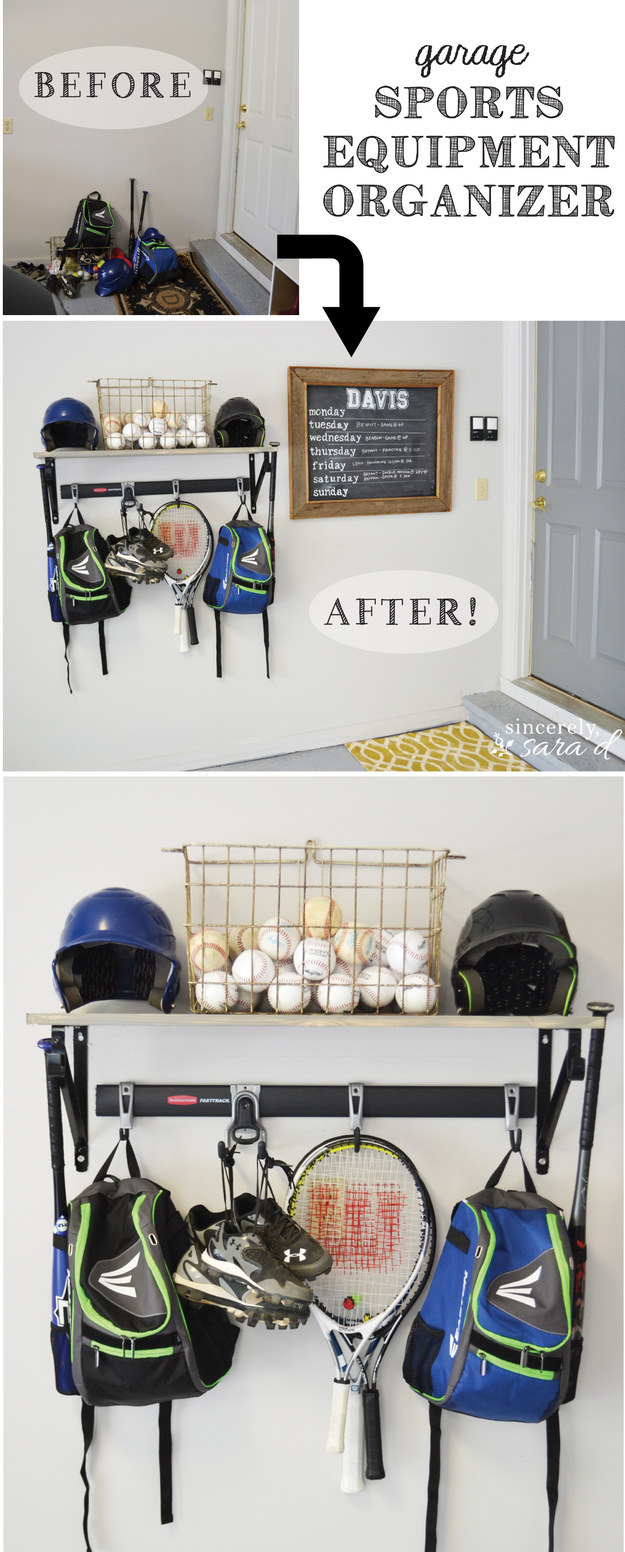 Install a sports equipment organizer to organize athletic gear.