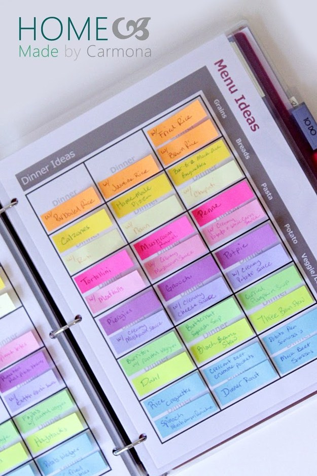Eliminate dinnertime stress and put together a menu planner.