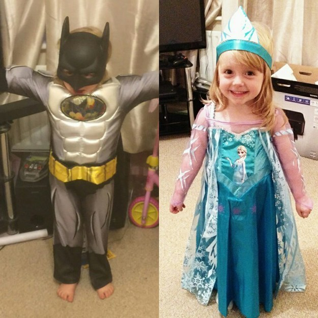 The girl who dressed as her two favorites: Batman and Elsa