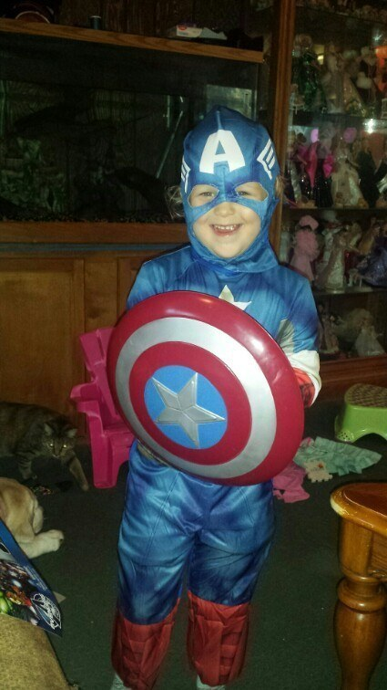 This adorable Captain America, forgoing the skirt it came with