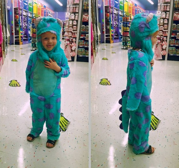 Sully from Monsters, Inc., courtesy of the boys' costume section