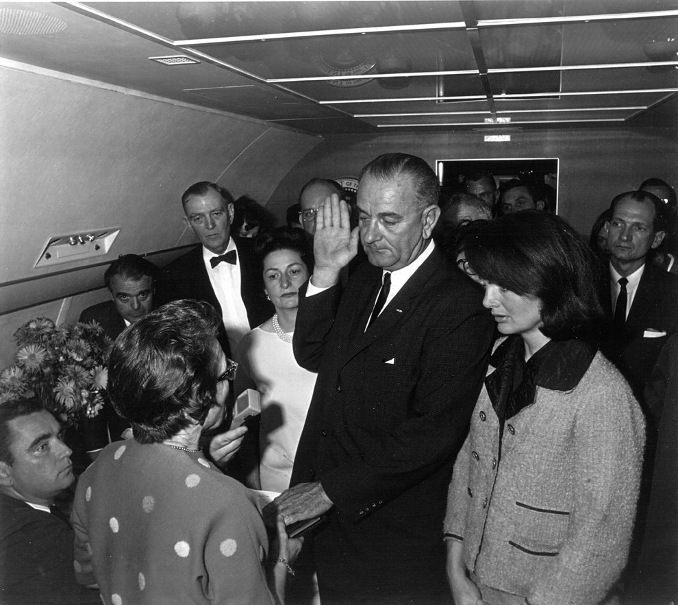 Nov. 22, 1963 — Lyndon B. Johnson is sworn in as president of the United States
