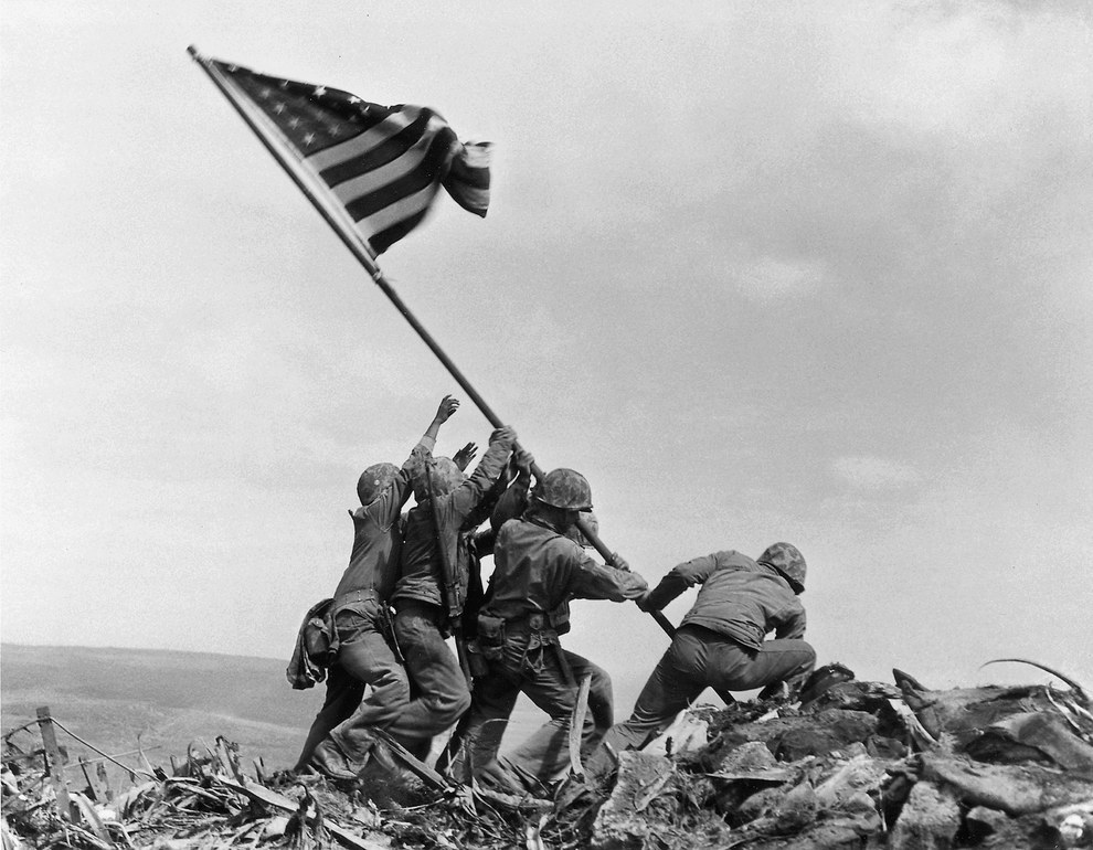 Feb. 23, 1945 — Raising the American flag on Iwo Jima