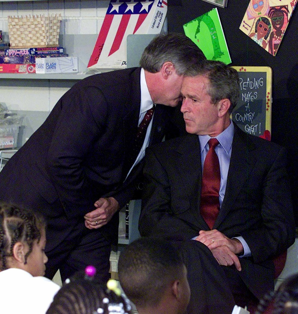 Sept. 11, 2001 — President Bush is notified of the terror attacks
