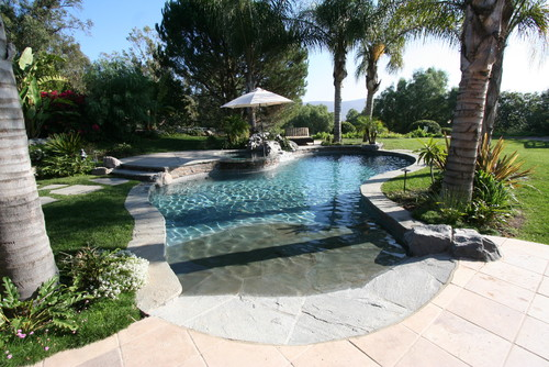 Create a Haven at Home with These Scenic Beach Entry Pool ...