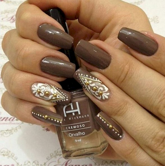 This design will give your nails some oomph - 12 Simple Nail Designs That  Demonstrate The - Brown Nails Design Graham Reid