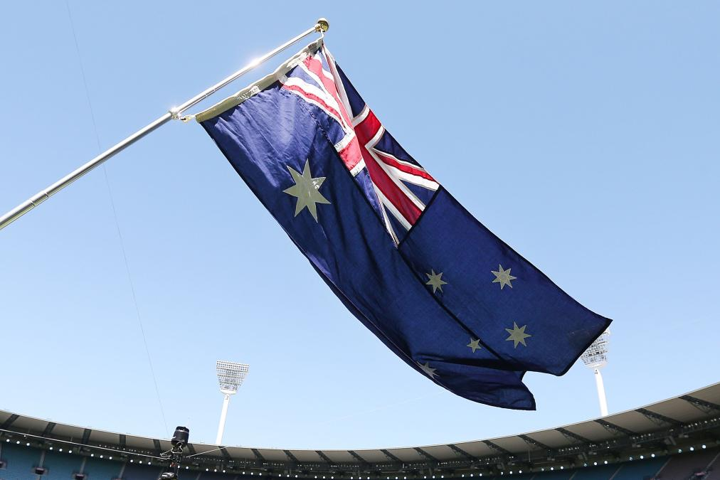 MELBOURNE, AUSTRALIA - NOVEMBER 21: The Australian Flag is seen during game four of the One Day International series between Australia and South Africa at Melbourne Cricket Ground on November 21, 2014 in Melbourne, Australia.  (Photo by Michael Dodge/Getty Images)