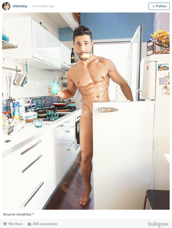 Naked sexy men at breakfast