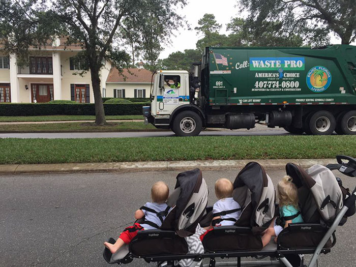 2-Year-Old Triplets Become Best Friends With Their Garbage Collectors (10+ Pics)